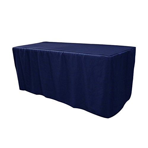 Your Chair Covers - 6 ft Polyester Fitted Tablecloth - Navy Blue, Premium Quality