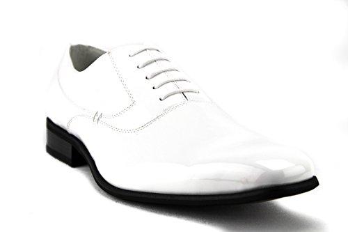 Delli Aldo M-19121 Men's Lace Up Smooth Classic Oxfords Dress Shoes, White, 9