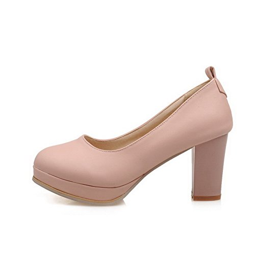 VogueZone009 Women's Solid Blend Materials High-Heels Buckle Round Closed Toe Pumps-Shoes Pink nbpLIKjIbq