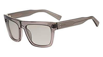 Calvin Klein Men's Square Translucent Sunglasses, Crystal Smoke, 57/19/140