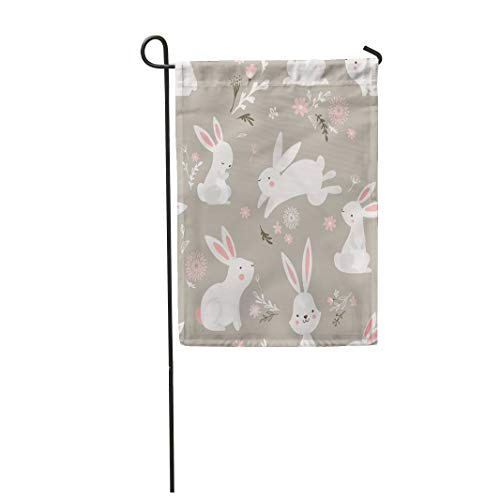 Semtomn Garden Flag 28x40 Inches Print On Two Side Polyester Watercolor Bunny Easter Bunnies Colorful Rabbit Cute Home Yard Farm Fade Resistant Outdoor House Decor Flag -