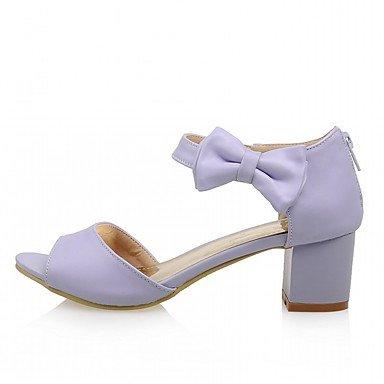 LvYuan Mujer Sandalias Semicuero PU Verano Otoño Paseo Pajarita Tacón Robusto Blanco Morado Rosa 2'5 - 4'5 cms Purple
