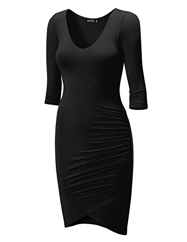 Buy black 3/4 length sleeve bodycon dress - 6
