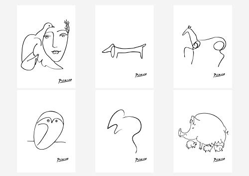 Dog Line Art - Wall Art Decoration Picasso Drawn Lines Head of A Women Dog Owl Horse Mouse Pig Poster Prints Set of 6 Size A4 (21cm x 29cm) Unframed for Pablo Picasso Paintings Lovers