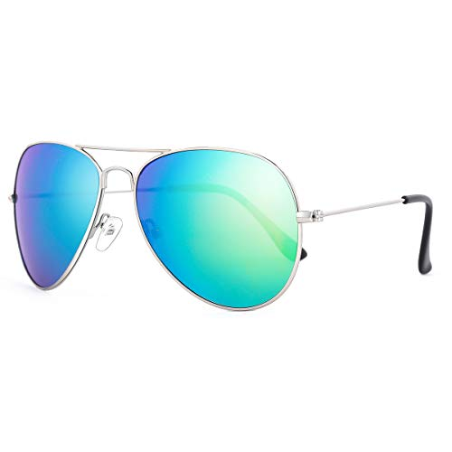 ROLF ROSSINI Kids Aviator Sunglasses Polarized for Boys and Girls with Case UV 400 Protection 50MM (Silver, Green) -
