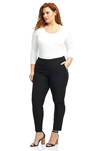 Rekucci Curvy Woman Ease in to Comfort Fit Modern Skinny Plus Size Pant w/Tummy Control (14WSHORT,Black)