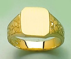 14k Gold Children's Jewelry, Square Baby Signet Ring With Flower Sides by Million Charms (Image #1)