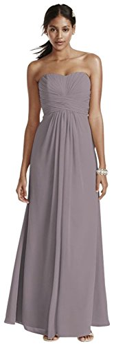 Chiffon Dress Style Bridesmaid Strapless Bridal Pleated Long Portobello s F15555 David Bodice p1wxq6F4g