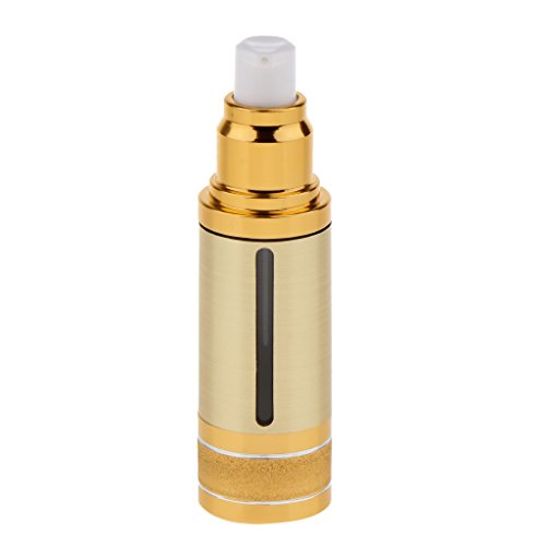 (Homyl Sterile Airless Pump Bottle 1oz - Refillable Cosmetic Container – for Makeup Foundations and Serums - Lightweight Leak Proof & Shockproof Container - Gold)