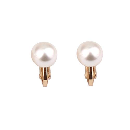 Nice Honey Briadl Wedding Clip Earrings No Pierced Silver/Gold Plated Charm Jewelry Pearl earrings (8mm screw gold white)