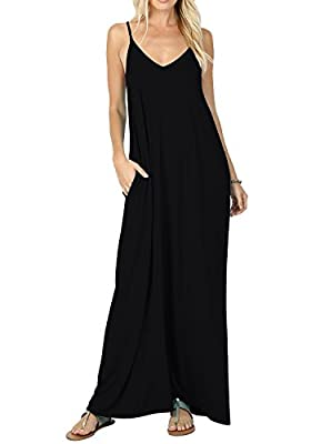 WANGZHI Women's Summer Casual Plain Flowy Pockets Loose Beach Cami Maxi Dress
