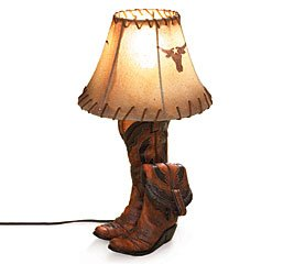 Cowboy Boots Table Desk Lamp Light Western Home Decor