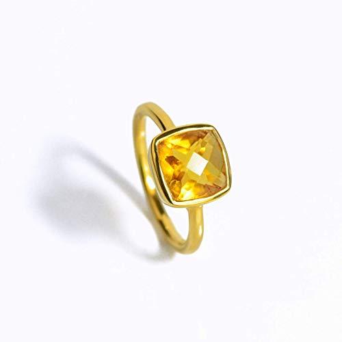 Citrine Quartz Cushion Shape Ring, Vermeil Gold or Sterling Silver, November Birthstone ring