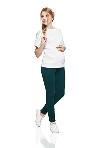 Workout Maternity Pants Over Bump Cotton Joggers With Pockets Yoga Sweatpants (Small/Medium, Dark Green, Xisza)