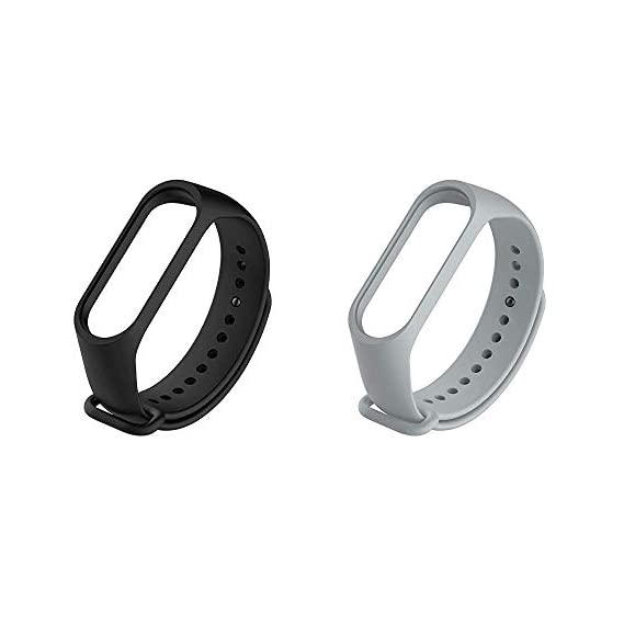 Liddu Wristband Band Straps for Xiaomi Mi 3 & Mi4 Bands (Combo Pack, Pack of 2) (Black - Grey, Xiaomi Mi Band 3)