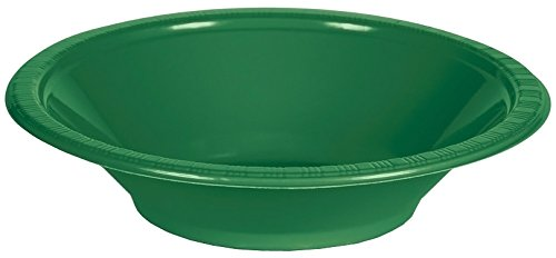 Creative Converting 28112051 Touch of Color Plastic Bowls Party Supplies, 12oz, Emerald Green