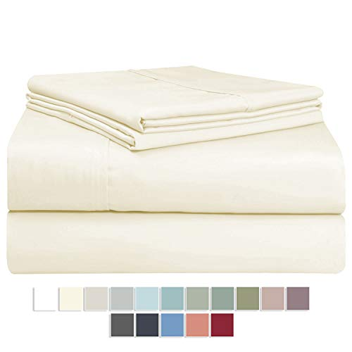 Pizuna 400 Thread Count Cream 6 Piece King Sheets Set Includes 2 Bonus Pillow Cases, 100% Long Staple Cotton Soft Sateen Weave Bed Sheets with Deep Pockets, Value Pack 6 pc Cotton Sheets King Ivory