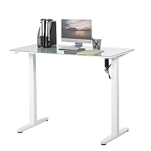 (Incbruce Electric Height Adjustable Office Desk Sit Stand Home Office Standing Table 4 Memory Button Computer Table, Contemporary Independent Assortment of Table Tops(White)&Legs Frame(White))