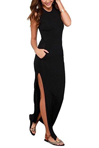 LaSuiveur Women Sleeveless Stretch High Slit Long Maxi Dress with Pockets