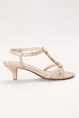 Davids Da Sposa In Cristallo T-strap Sandalo Con Tacco Basso Stile Karina Champagne
