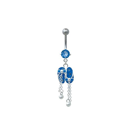 (Dangling Flipflops Belly Button Navel Ring with Swarovski Crystals)