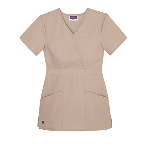 Sivvan Women's Scrubs Mock Wrap Top (Available in 12 Colors) - S8302 - Khaki - M (Alabama Outlet In)