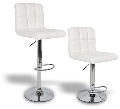 2 x PU Leather Hydraulic Lift Adjustable Counter Bar Stool Dining Chair White -Pack of 2 (150) Made By jersey seating®