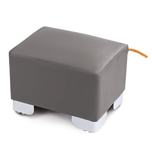 Classic PU Leather Square Ottoman Bench Coffee Table for Bedroom Footrest Stool Tufted Padded Seat Frame Legs (Gray)