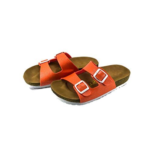 Genesis Kids Casual Buckle Thong Strap Sandals Flip Flop Platform Footbed Trends Shoes (12, Orange)