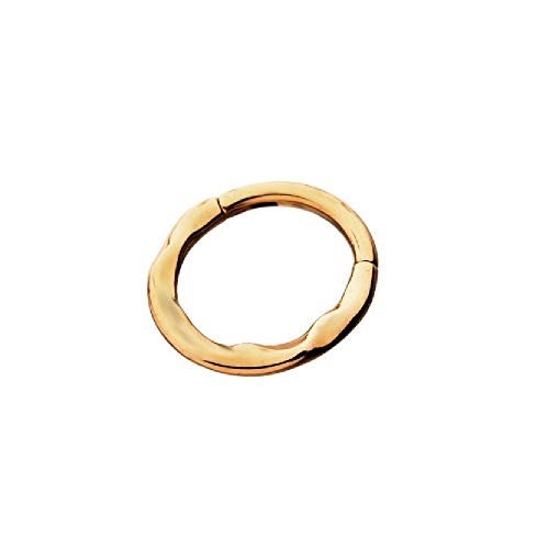 16G Hammered Texture Wavy Stainless Steel Hinged Segment Ring for Septum, Lip, Eyebrow, and Ear Piercings (Rose Gold Plated)