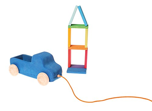 Grimm's Blue Truck Pull Along Toy with XL Color Charts Building Blocks