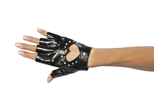 Sexy Women's Glove w/Cut-Out Heart & Stones Costume (Black Glove With Heart And Stones)