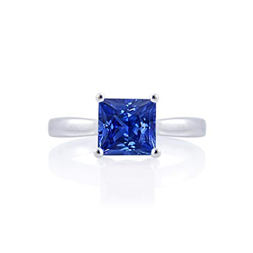 Diamond Scotch 2 Ct Princess Cut Brilliant Simulated Blue Sapphire Solitaire Wedding Engagement Ring 14k Gold Plated Size-6.5