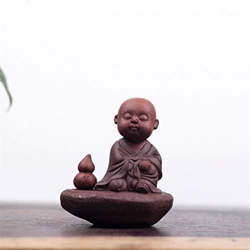 XueQing Pan 宜興手作り紫砂彫刻装飾品李塵シリーズ6文字小さな砂僧Qバージョンかわいいかわいいお茶ペット (Color : Purple mud)