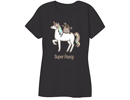 Pusheen Cat Super Fancy Womens T-Shirt - Black (Large)