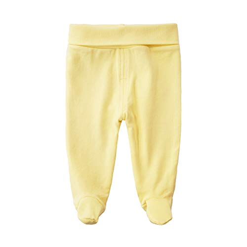 - SYCLZ Baby Cotton High Waist Footed Pants Casual Leggings 0-12M (0-3M, Yellow)