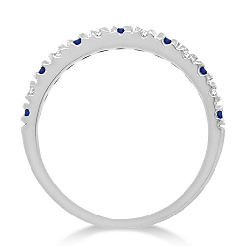 14k Gold Diamond and Blue Sapphire Stackable Ring Anniversary Band For Women