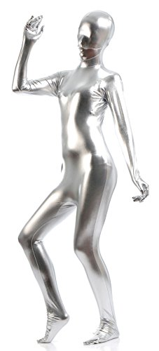 VSVO Unisex Skin-tight Spandex Full Bodysuit for Adults and Children (Large, Silver) (Purple Morphsuit)