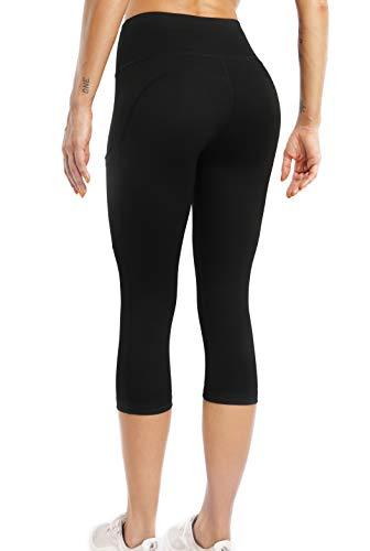 Sweetaluna Capri Workout Leggings for Women,High Waist Training Yoga Pants with Pockets,Running Tights Black