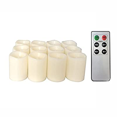 Candle Choice Flameless Battery Operated LED Votive Remote Candles with 6 Keys Remote Control & Timer,12 Pics QQ1502P6K-12