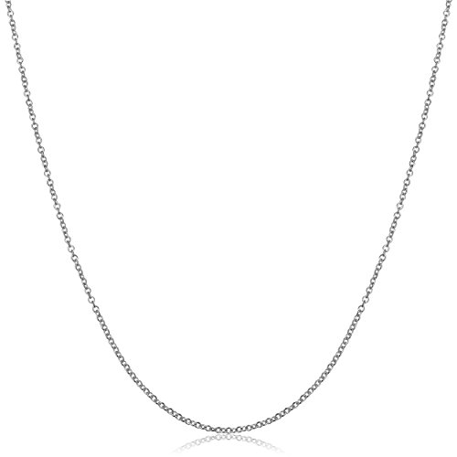 - Kooljewelry 18k White Gold Round Cable Chain Necklace (1 mm, 18 inch)