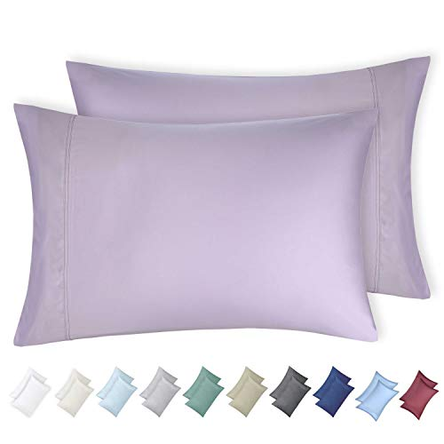 600 Thread Count 100% Cotton Pillow Cases Lavender King Bed Pillow Covers Set of 2, Long - Staple Combed Pure Natural Cotton Pillows for Sleeping, Soft & Silky Sateen Weave - Case Bed Pack