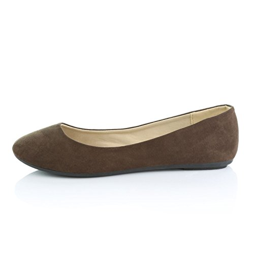DailyShoes Womens Classic Flats Comfortable Upper Round Flat Slip-On Loafer Sneaker Shoes-Ideal For Casual Occasions Soft Brown Suede 2It0eii