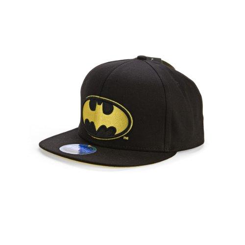 DC Comics Men's Batman Flat Brim Snap Back Hat, Black, One Size