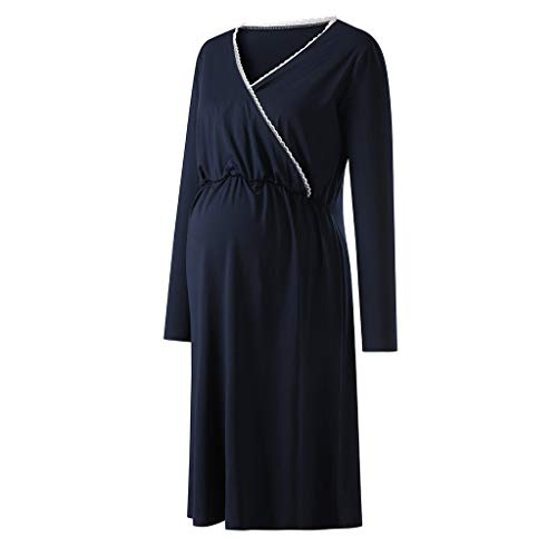 4636d62998965 Sagton Pregnant Dress, Womens Mother V-Neck Lace Pregnants Casual Nursing  Baby Shower for