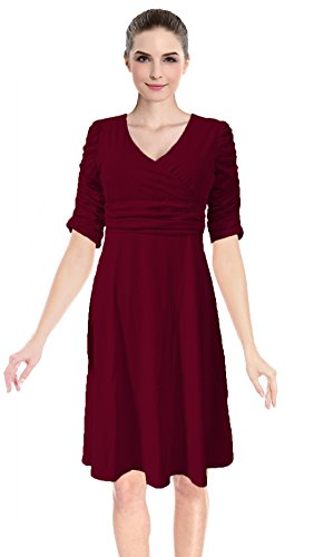 Women's 3/4 Sleeve Ruched Waist Classy V-Neck Casual Cocktail Flare Dress