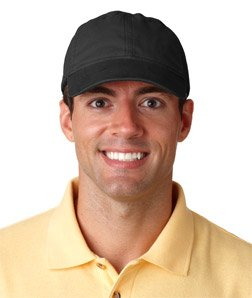 UltraClub 8116 Classic Cut Heavy Brushed Cotton Twill Unconstructed Cap - Black