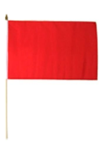 12''x18'' Solid Red Plain Stick Flag 24'' wooden Pole Staff - Vivid Color and UV Fade Resistant - Prime Outside Garden Home (24' Pole Flags)