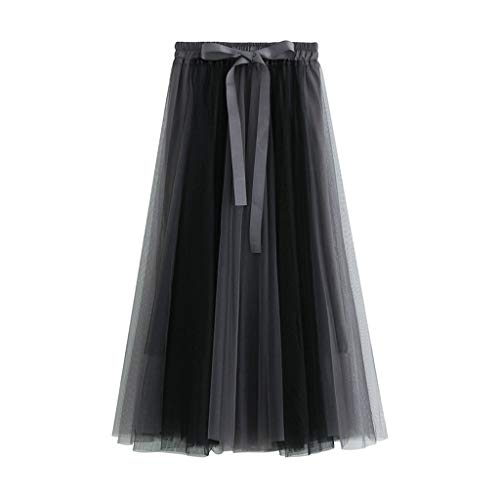 - Zlolia Contrast Color Patchwork Tulle Tutu for Women Strap Belt Chiffon Stretch High Waist Light Swing Dress Gray
