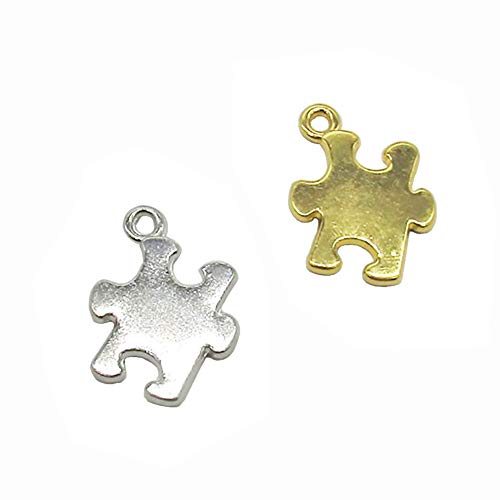 20 Pcs 2 Color Autism Awareness Charms Puzzle Piece Charms Pendant for Jewelry Making (Gold & Silver)